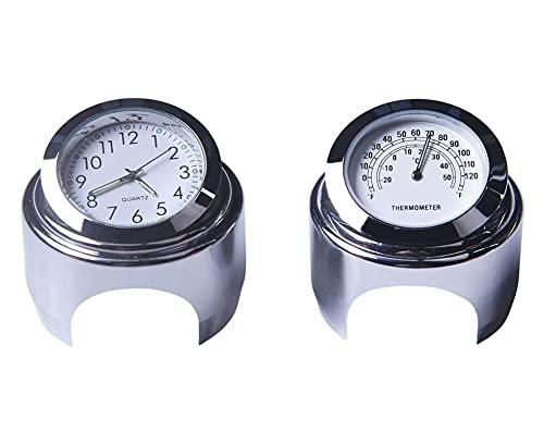 YINLONG Long 22-25mm Motorycle Handlebar Reloj Termómetro Moto Manillar Monte Dial Reloj Reloj Termómetro Temp GAUUGA FIT para Yamaha Kawasaki (Color : White Set)