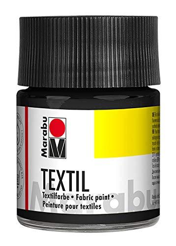 Marabu 17160005073 - Textil Stoffmalfarbe schwarz 50 ml, Stoffdruckfarbe auf Wasserbasis, für helle Stoffe, waschbeständig bis 60°C, weicher Griff, einfache Fixierung durch Bügeln o. Backofen