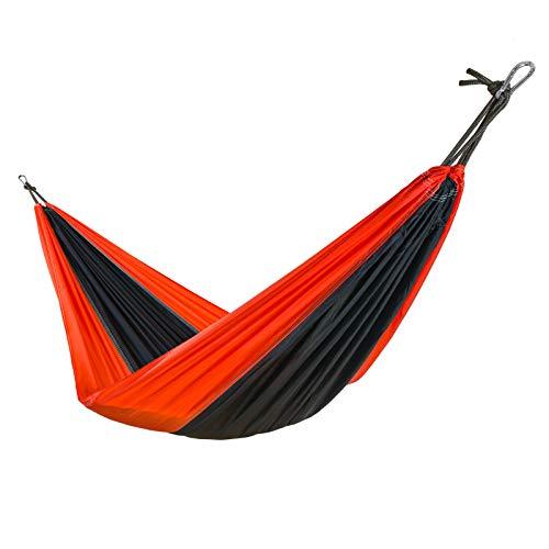 casa pura Hamac de Voyage - Hamac Suspendu | Nylon Hamac Toile de Parachute | pour Jardin, Camping, Randonnée | 200kg de Capacité | Sac de Transport Inclus - Noir (275x140 cm)
