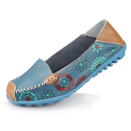 Ablanczoom Womens Comfortable Leather Floral Print Flats Casual Driving Loafers Walking Shoes for Women Blue