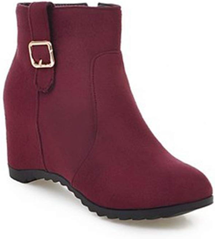 Elsa Wilcox Women Winter Pointed Toe Zipper Bootie Comfy Hidden Heel Dressy Short Boots Suede Wedge Ankle Boots