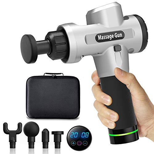 Massage Gun with Carrying Case - HENSUN Professional Handheld Deep Tissue Muscle Massager for Athletes- 20 Speed Strength Levels for Muscle Soreness Relieves(Silver-001)
