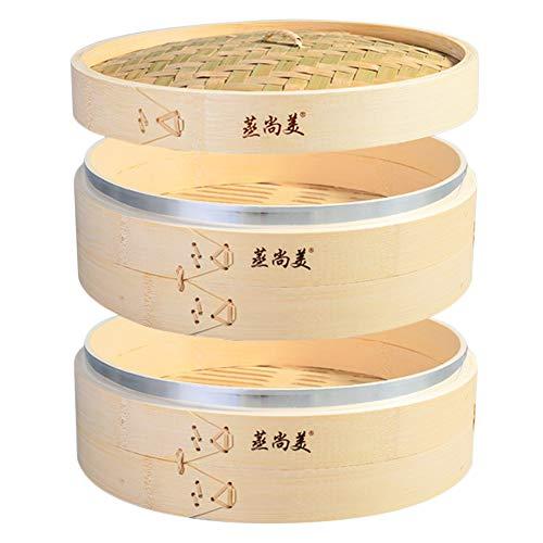 Hcooker Profundizar 2 Capas Vaporizador de Bambú para Cocina con Bandas de Acero Inoxidable para Cocina Asiática Bollos Empanadillas Verduras Pescado Arroz