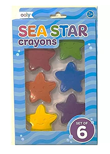 Sea Star Shaped Crayons 6 Count Package 1.75' Point to Point