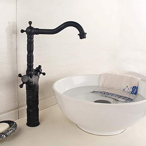 JKCKHA Cuenca del Grifo grifos de Cobre Europea Grifo de baño Retro Orificio de Agua Caliente y fría del Grifo de Oro Elevación del Grifo grifos de baño (Color: Negro Largo) (Color : Black Long)