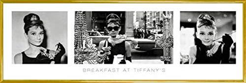 1art1 Desayuno con Diamantes Póster con Marco (Plástico) - Audrey Hepburn, Tríptico (91 x 30cm)
