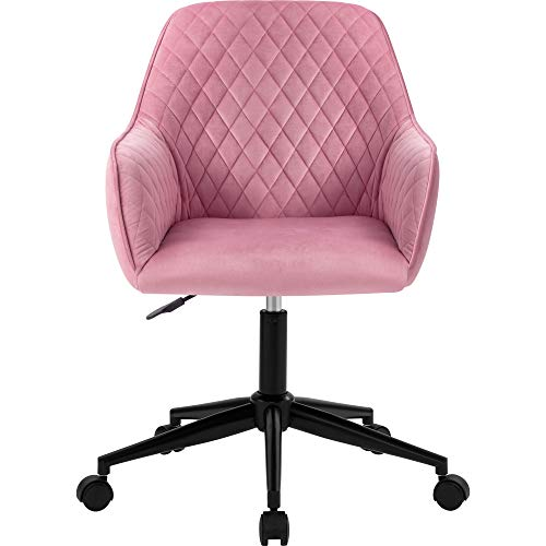 zcyg Silla de escritorio, silla de oficina, silla de escritorio de terciopelo con brazos, cojín de lujo para silla giratoria en casa oficina (rosa)
