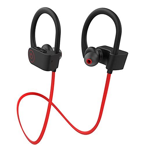 Auriculares Bluetooth, Auriculares Deportivos IPX7, Resistentes al Agua, Estéreo, 8 Horas de Tiempo de Reproducción en el Gimnasio, con Cancelación de Ruido (Rojo)