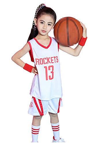 Rockets Harden #13 Basketballtrikot für Jungen Mädchen, Sleevelesstops Sport Basketball Unterhemden Top und Shorts 2er Set Sommer Kurz Schnell Trocken Jersey XXL weiß