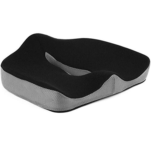 PERFECT POSTURE Memory Foam Seat Cushion with Carry Handle Comfortable Seat Cushion,for Office Chair Wheelchair and Car (Black-Gray)