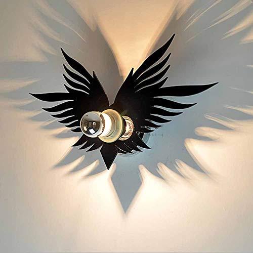 Giow Lámpara de Pared Ligera E27 Dormitorio Creativo mesita de Noche Pasillo Escalera lámpara de Pared de Dibujos Animados habitación para niños Batman Angel Shadow Art lámpara de Pared, Angel