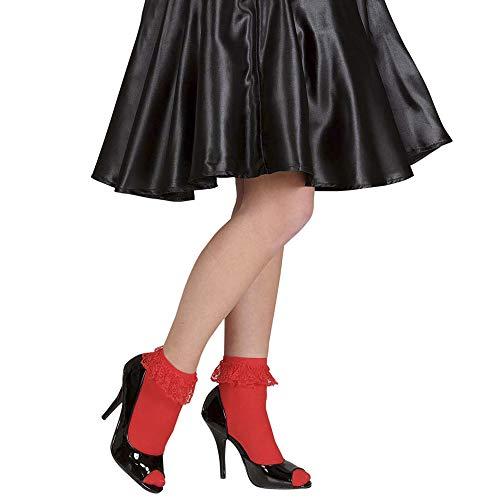 Widmann 4885R – Söckchen mit Spitze, rot, Knöchellang, 70 Den, Socken, Strümpfe, Accessoire, Kostümzubehör, Motto Party, Karneval