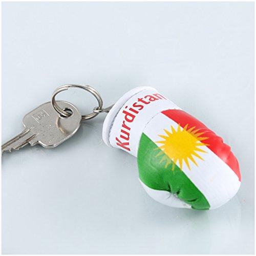 Sportfanshop24 Schlüsselanhänger/Anhänger für Schlüssel - Kurdistan - Boxhandschuh mit Schlüsselring, 7 cm groß