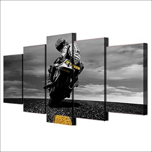 Gwgdjk 5 Pezzi Stampa Su Tela Immagini Moderni Murale Fotografia Grafica Decorazione Da Parete Home Tavolegaloppare In Moto Da Strada-40X60/80/100Cm,With Frame