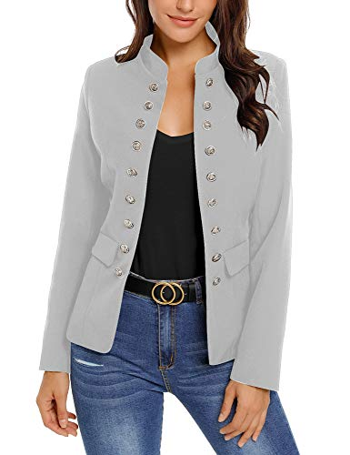 Roskiky Women Casual Solid Jacket Suit Open Front Stand Neck Buttons Office Blazer Grey Size Large (Fits UK 16-UK 18)
