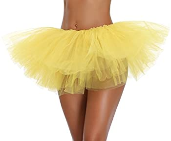 Women s Teen Adult Classic Elastic 3 4 5 Layered Tulle Tutu Skirt  One Size Yellow 5Layer