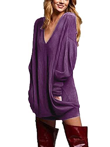 ZANZEA Mujer Jersey de Punto Largos Cuello V Manga Larga Otoño Vestidos Sudadera Casual Tallas Grandes Suéter Suelta Violeta S