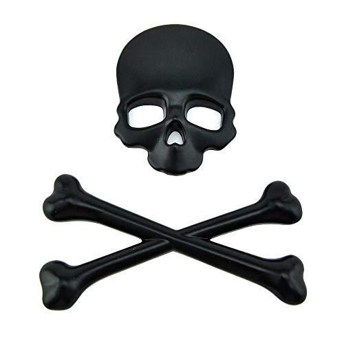 3D Skull Bone Emblem Metal Decal Crossbones Metal Skeleton Sticker for Car Vehicle Bike Motorcycle