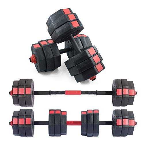 sogesfurniture One Pair of Adjustable Dumbbells 33, 33 with Connector, Iron Sand Mixture Octagonal Designed, Anti Rolling Fitness Dumbbells, Total 66 Lbs,BHCA-HSYL001-30