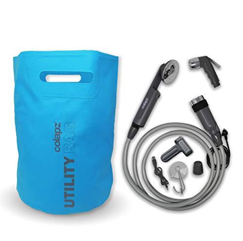 Colapz Dog Grooming Shower Kit - Douche Portable avec Batterie Rechargeable et Sac d'eau Pliable 16l - Bleu