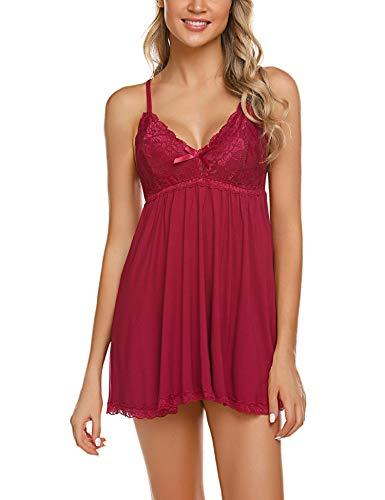 ADOME Negligee Sexy BH Babydoll Nachtwäsche Nachthemd für Damen Spitze Nachtkleid Dessous mit Spitzendetail,Dunkelrot,M
