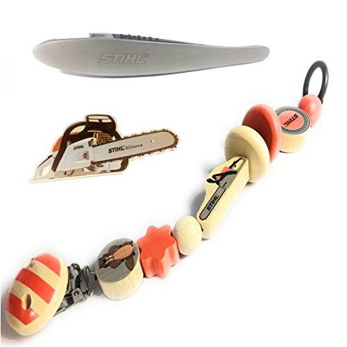Stihl Holzschnullerkette, Schnuller-Kette 21 cm, inkl. Flaschenöffner & Bierdeckel Motorsäge für Papa, Bundel Set, Baby Geschenk Set