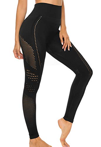 FITTOO Leggings Sin Costuras Corte de Malla Mujer Pantalon Deportivo Alta Cintura Yoga Elásticos Fitness Seamless #1 Negro S