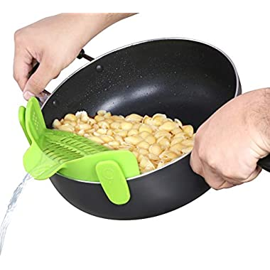 Utopia Kitchen Silicone Clip Strainer - Clip On Design - Adjustable on Different Pot Sizes - Compact and Flexible - Green Color