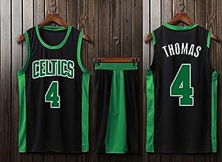 NBA Boston Celtics #4 Isaiah Thomas Professional Basketball Uniforms Sleeveless Sports Vests Match Uniforms Black,Black,S