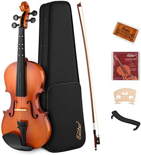 Eastar 1/2 Violine Set für Anfänger mit Lernpunkt in Fingerplatte mit Inlay mit Hardcase, Schulterstütze, Bogen, Kolophonium, Geige Brücke und Saiten (EVA-2)