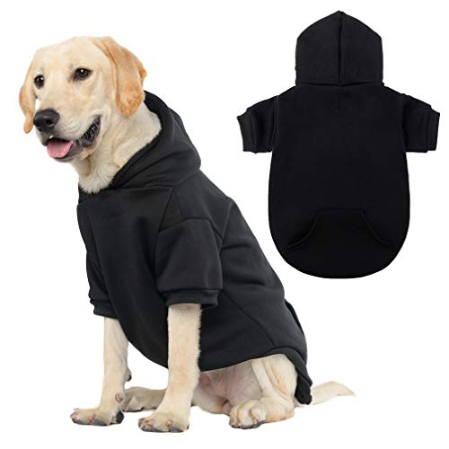 Basic Dog Hoodie - Soft and Warm Dog Hoodie Sweater with Leash Hole and Pocket, Dog Winter Coat, Cold Weather Clothes for XS-XXL Dogs