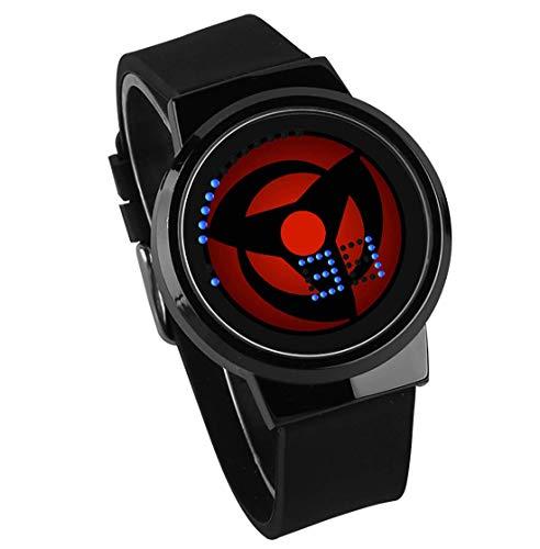Smartwatches,Kreative Geschenk-Touchscreen Led-Uhr Naruto Anime Umgibt wasserdichte Leuchtende Elektronische Uhr Gun Rahmen Schwarz Gürtel