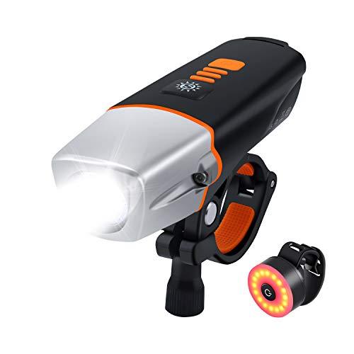 Movaty LED Bicicletta Luce,luci per Bicicletta,Luce Bici Anteriore, USB Ricaricabile Bicicletta Illuminazione 2600mAh Batteria al Litio, 600lm fari Anteriori luci,Impermeabile (Nero3)