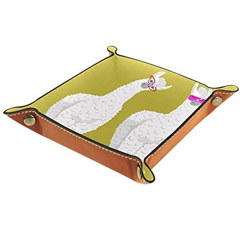 LynnsGraceland Bandeja de Cuero - Organizador - Alpaca - Práctica Caja de Almacenamiento para Carteras,Relojes,Llaves,Monedas,Teléfonos Celulares y Equipos de Oficina