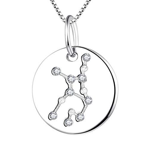 YL Collar de plata virgen, plata de ley 925 CZ horóscopo zodiaco 12 constelación, collar colgante para mujeres y niñas