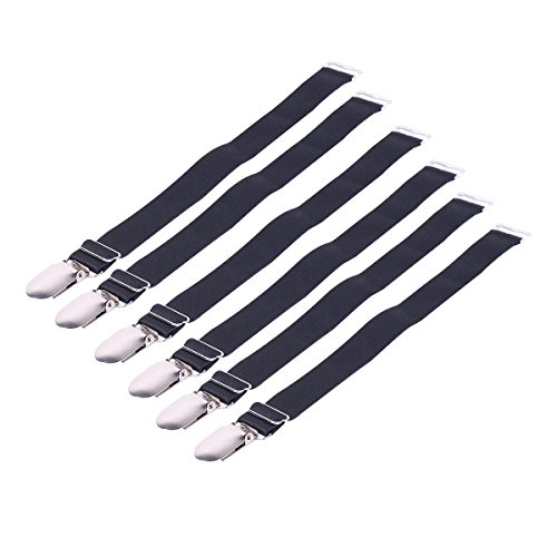 iiniim Elastic Straight Style & Y Style Suspender Garter Belts Corset Holders Stockings Fastener Duck-Mouth Metal Clip 6 Straight Style