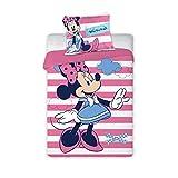 Arle-Living Juego de ropa de cama para bebé (3 piezas), diseño reversible de Minnie Mouse, 100 x 135 cm + 40 x 60 cm + 1 sábana bajera de 70 x 140 cm (Minnie con rayas, con sábanas), color blanco