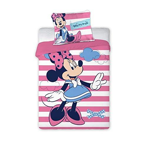 Arle-Living 3 TLG. Baby Bettwäsche Wende Motiv: Minnie Mouse - renforcé 100x135 cm + 40x60 cm + 1 Spannbettlaken 70x140 cm (Minnie mit Streifen, mit Laken: rosa)