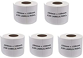 5 Rolls Dymo Compatible S0904980 Shipping Labels 4 x 6 Dymo 4XL Postage 1744907 (220 Labels Per Roll) 104mm x 159mm...