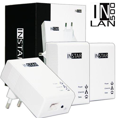 INSTAR Mini Powerline Adapter met adapter en stopcontact zonder stekkerdoos 3er-Set wit