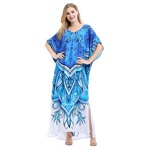 Tyidalin Robe de Plage Femme Kaftan Grande Taille Paréo Rayonne Kimono Maxi Longue Eté Bohème (Couleur 7, Taille Unique)
