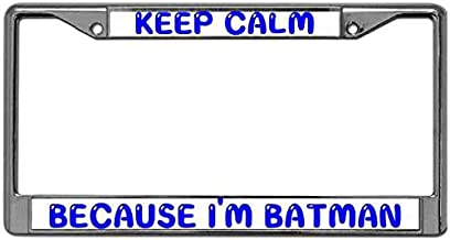 MuYangDing Pack License Plate Frame Premium Anodized Aluminum License Plate Frame Tag with Screw Covers Keep Calm Because I'm Batman License Plate Zinc Frame Standard US Size