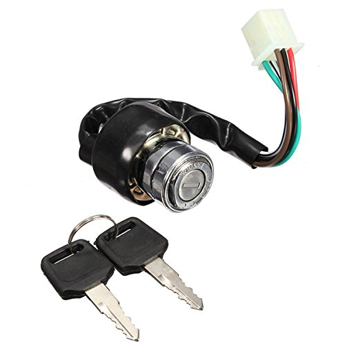 Motorcycle Ignition Switch Akozon 4 Wire Waterproof Starter Switch with Key for 50 90 110 125cc ATV Bike Scooter