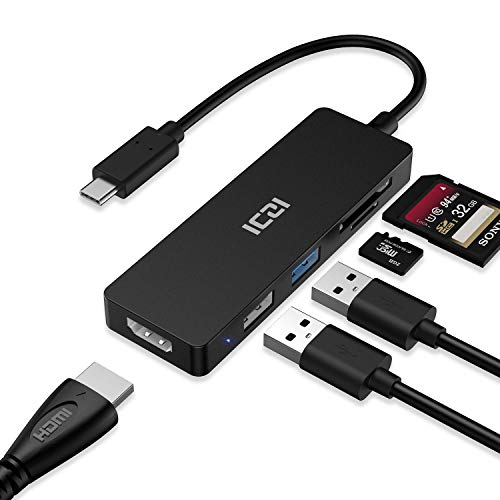 ICZI Hub USB C Thunderbolt 3 5 en 1 Adaptador USB Tipo C a HDMI 4K Dex 2 USB Lector de Tarjetas SD TF para Macbook Pro Surface Pro 7 Samsung S10 Huawei Mate 10 iPad Pro 2018 etc