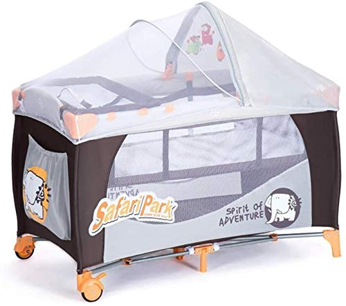 PJPPJH Baby Crib, Portable Foldable Shaker with Mosquito net and Scroll Wheel, Multifunctional Mobile Play Bed, Suitable for Babies/Newborns, Gray