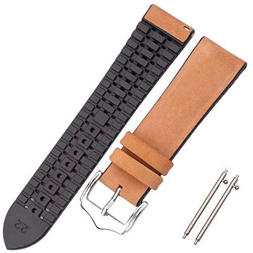 Reloj Pulsera de Correa 18 20 22mm Hombres Mujeres Impermeable Transpirable Relojes Relojes Relojes Accesorios de Reloj Correa Reloj (Band Color : Smooth Brown, Band Width : 20mm)