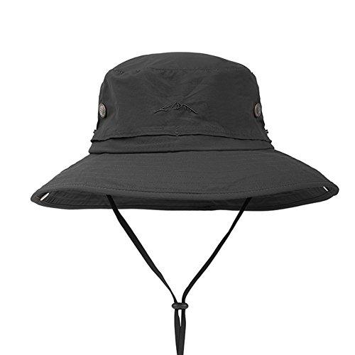 Yxsd LMYZ Yxsd Sun Cap Sonnenschutz UV Schutz Männer Nylon Gesicht Hut, verstellbare Kinnband Outdoor, Bergsteigen Reisenden Hut,Sonnenhut (Color : Black)