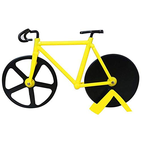 Bicycle Pizza Cutter Wheel Non-Stick Cutting Wheel Dual Stainless Steel best for Holiday Vacation Housewarming Cool Kitchen Gadget Gift with Stand (Yellow)