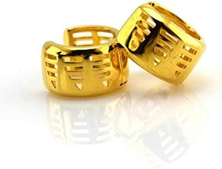 New 24k Yellow Gold Filled Modern Design Wide 148mm / 1/2'' Mini Hoop Earrings