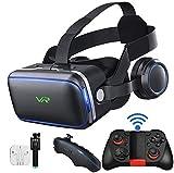 ZRSH Gafas VR Movil Auricular de Realidad Virtual con 3D y Mando a Distancia Bluetooth para Teléfono Móvil Universal, iPhone, Android, Ver Películas en 3D y Videojuegos,003